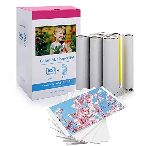 AKEN Papel fotográfico KP108IN 3115B001 (AA) pare Selphy CP1200 CP910 CP1300,108 hojas de papel de impresora (100 x 148 mm) con 3 cartuchos de tinta