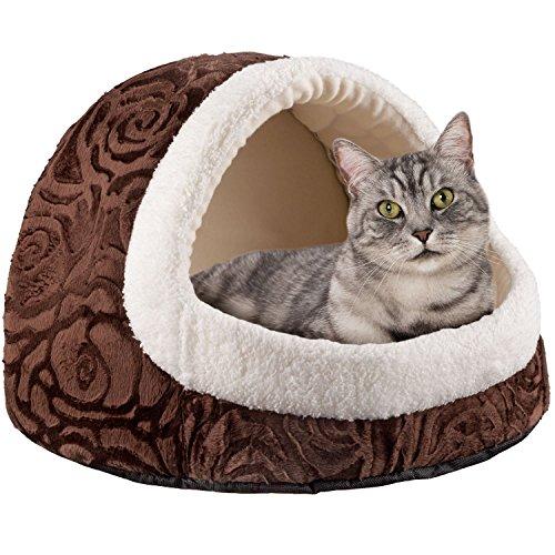 GOODS+GADGETS Premium Katzenhöhle aus Plüsch Kuschel-Höhle für Katzen und Hunde Katzen-Haus XXL