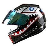 WOW Motorcycle Full Face Helmet Street Bike BMX MX Youth Kids Shark Black; Size M (19.7/20.3 Inch);