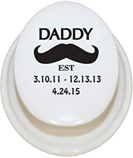 Style In Print Personalized Custom Text Daddy Black Mustache EST Porcelain Treasure Box Porcelain Jewerly Box - Oval