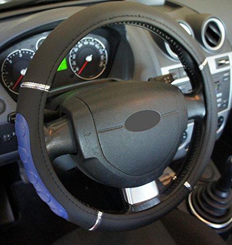 Ottima qualita' universale coprivolante nero blu per auto Anti Scivolo Diametro 37-39cm + 1 adesivo da pc'Ricambi Auto Europa' GRATIS