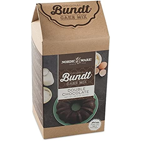 Nordic Ware Platinum Collection Anniversary Bundt Pan with Storage Bag and Double Chocolate Bundt Cake Mix