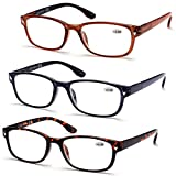 Viscare 3-Pack Men Women Wayfarer Reading Glasses Readers w/Spring Hinges (+3.00, Brown)