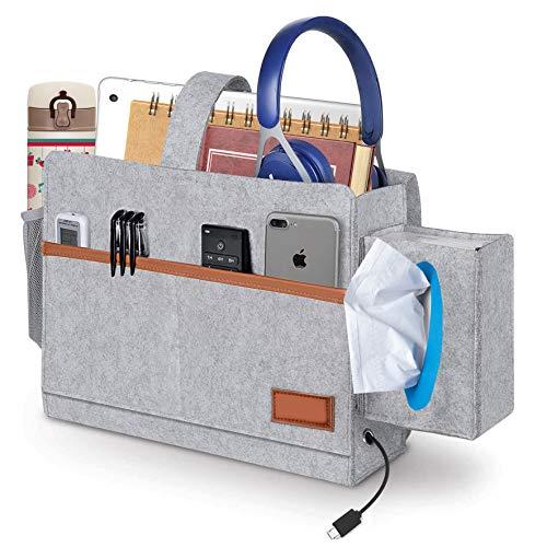 KITEOAGE Bettablage zum Einhängen mit Tücherbox Aufbewahrungstasche für Bettgeländer, Betten, Sofa Theken