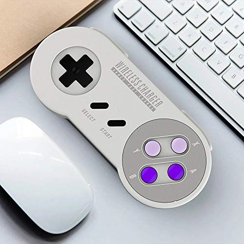 Gaming Controller Joystick met Qi draadloze oplader 10W 5W Retro SFC Gamepad Commemorative Edition zonder drivers installeren Universele Compatibiliteit (Color : White, Size : One size)