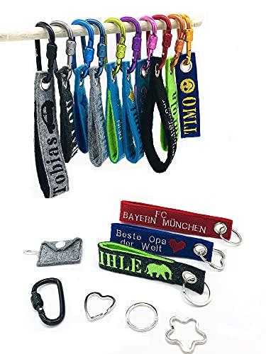 Personalisierterer bestickter Schlüsselanhänger aus 2-lagigem Filz mit Name und Wunschmotiv (100 Motive erhältlich)
