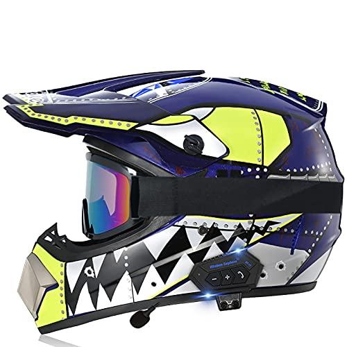Cascos de Motocross,Bluetooth Cascos modulares Casco de Motocross CertificacióN Dot/ECE Four Seasons Large Rally Casco Mountain Bike DH Casco de Descenso Guantes de Gafas E,S