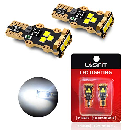 LASFIT 921 912 W16W LED Reverse Backup Trunk Cargo Light Bulbs, White Light 1yr Warranty