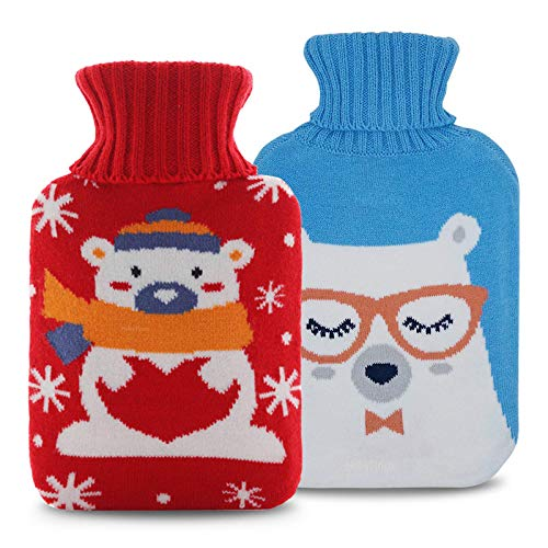 HebyTinco Hot Water Bottle with Cover, 2L Premium Natural Rubber Hot Water Bag, Comfortable, Safe, Hot Water Bottle with Bear Pattern, Suitable for Back, Neck and Shoulders