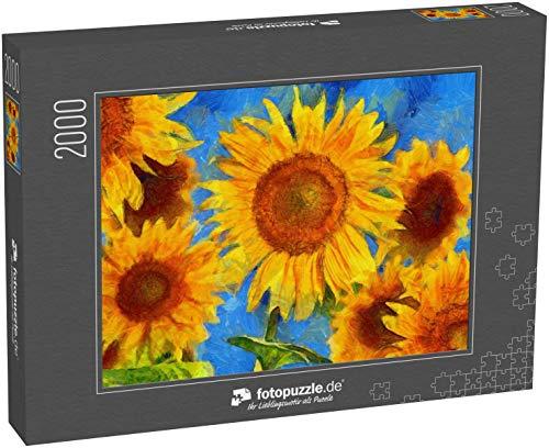 fotopuzzle.de Puzzle 2000 Teile Sonnenblumen. Stil von Vincent Van Gogh. Digitale Imitation der postimpressionistischen Ölmalerei