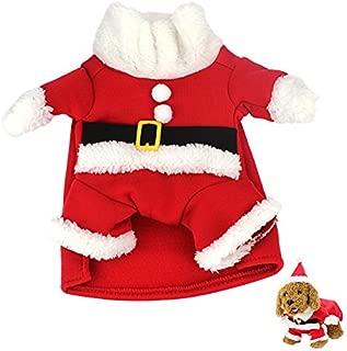 Idepet Pet Dog Cat Christmas Xmas Costume,Cute and Hilarious Outfit,Santa Pet Apparel for Winter,Autumn XS