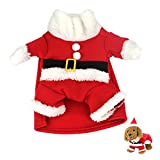 Idepet New Santa Dog Costume Christmas Pet Clothes Winter Hoodie Coat Clothes for Dog Pet Clothing Chihuahua Yorkshire Poodle (S)
