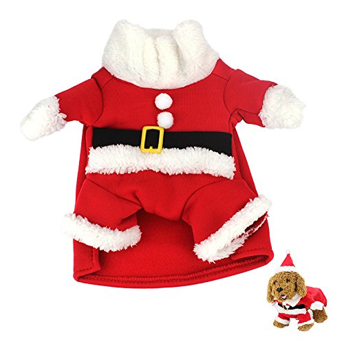 Idepet Santa Dog Costumes, Christmas Pet Clothes Winter Hoodie Coat for Dogs Cats Chihuahua Yorkshire Poodle (XL)