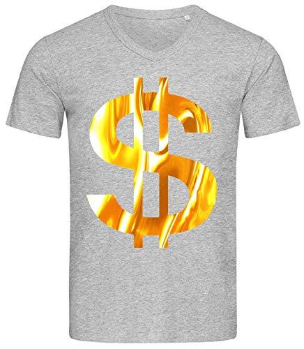 Desconocido Liquid Gold Styled Dollar Currency Sign Camiseta Estampada de algodón con Cuello en V para Hombre Small