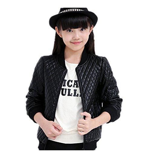 LJYH Big Girls PU Leather Motorcycle Jacket Children