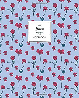 Bloom Notebook - Ruled Pages - 8x10 - Large: (Navy Edition) Fun Christmas notebook 192 ruled/lined pages (8x10 inches / 20...