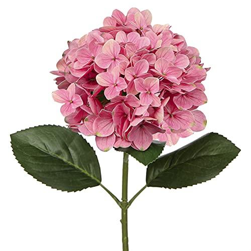 Briful Flores artificiales hortensias artificiales con impresión 3D, flores falsas, flores de imitación, cocina, boda, interior y exterior, decoración del hogar 1 unidad