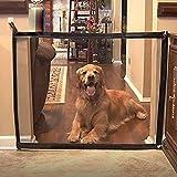 Lorcoo Porte de sécurité intérieure pour chiens, 110 cm Magic Pet Gate Safe Guard Barrière de sécurité pour chiens portable pour escaliers et balcon