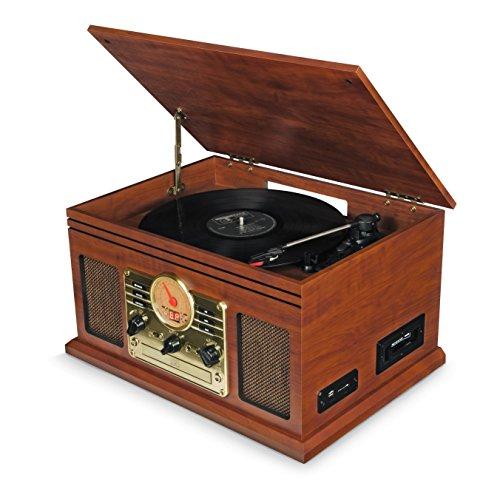 Schallplattenspieler Bluetooth mit Lautsprecher, Retro Plattenspieler Nostalgie mit FM-Radio/CD-Player/Kassettenspieler/MP3 USB/SD-Card, MP3-Aufnahmefunktion (Walnuss)