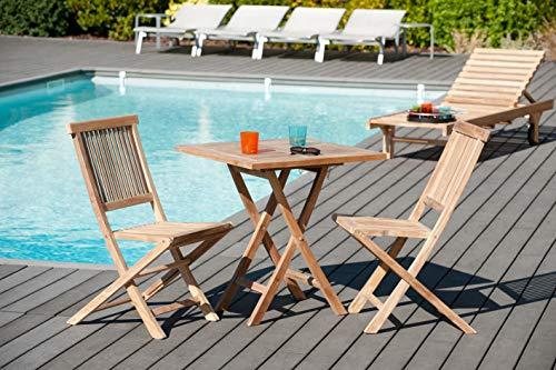MACABANE 501007 Table carrée Pliante Couleur Brut en Teck Dimension 70cm X 70cm X 75,50cm