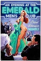 なまけ者雑貨屋 Emerald Mens Club - Pin-Up Girl アメリカン 雑貨 ナンバープレートヴィンテージ風 ライセンスプレート メタルプレート ブリキ 看板 アンティーク レトロ