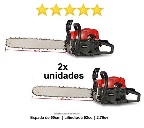 Pack von 2Kettensägen 52cc Benzin-Kettensägen Trimmer mit Schwert 50cm Hubraum 52cc 2,75ps®