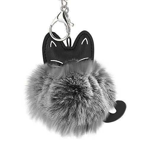 Janly Clearance Sale Womens Keychains, 8CM Cute Cat Keychain Pendant Women Key Ring Holder Pompoms Key Chains, Jewelry & Watches for Christmas Valentine's Day (Grey)