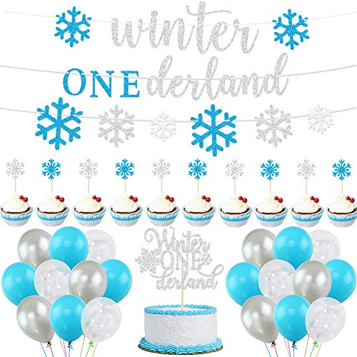 Winter Onederland Birthday Decorations, Winter 1st Birthday Blue Onederland Balloons, Christmas Snowflakes for Frozen First Birthday Party Supplies Winter Onederland First Birthday Baby Shower