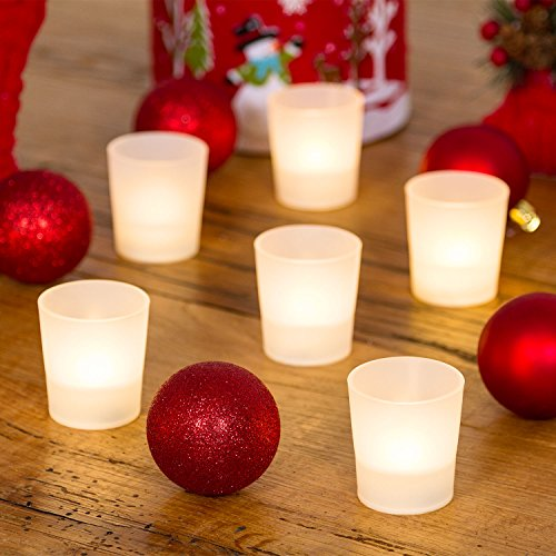 LuminalPark 6 Teelichter batteriebetrieben mit Schnapsgläser, warmweiße LED, dekorative Teelichter, LED-Kerzen, Weihnachtsbeleuchtung
