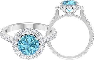 Anillo solitario de 8 mm, anillo de moissanita D-VSSI, anillo de compromiso de oro blanco de 14 quilates