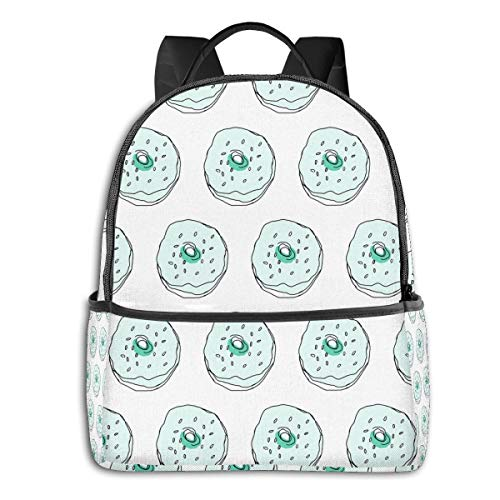 Qucoost Mint Donuts Monochromatic Daypack With Side Pockets, College School Bookbag Anti-Theft Multipurpose