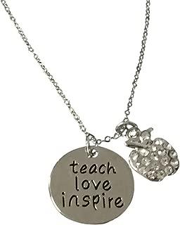 Infinity Collection Teacher Necklace- Teach Love Inspire Charm Pendent Jewelry, Teacher Gift, Teacher Appreciation Thank You Gifts for Teachers