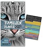 Familienplaner 2021 – KATZEN   5 Spalten   Wandkalender: 23x43cm   Familienkalender Extras: 228 praktische Sticker, Ferien 2021/22, Pollen-, Obst- & Gemüse-, Jahreskalender, Vorschau bis März 2022