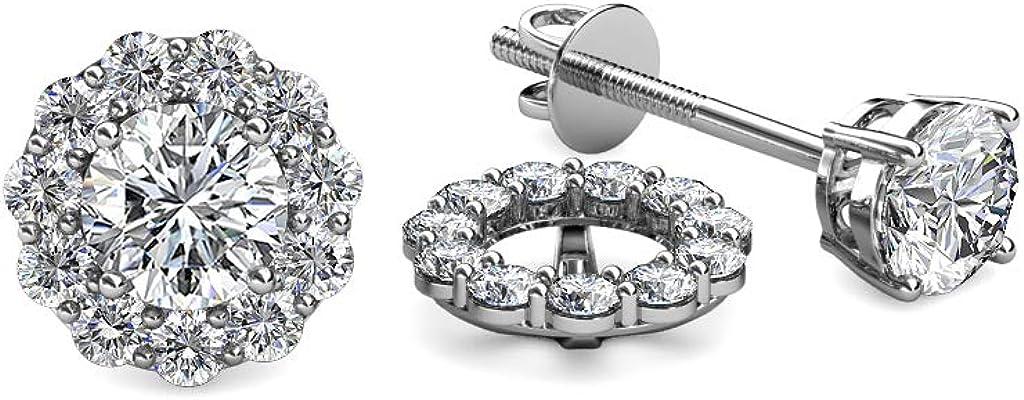 TriJewels Diamond 0.66 Carat tw Women Halo Jackets for Stud Earrings in 14K White Gold