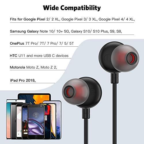 USB C Headphones, USB Type C Earphone Stereo in-Ear Earbuds Hi-Fi Digital DAC Bass Noise Cancelling Headsets w/h Mic