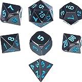 Juego de Dados poliédricos de 7 Troqueles de Metal DND Juego de Dados de Juego de rol con Bolsa de Almacenamiento para RPG Dungeons and Dragons DD Math Teaching (Shiny Black and Blue)