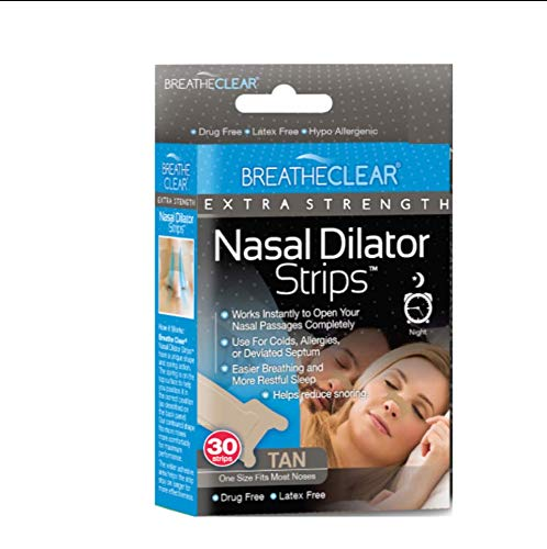 Breathe Clear® Extra Strength Nasal Strips, 30 Count, Tan   Instant Nasal Congestion Relief   Perfect for Colds & Allergies   Helps Improve Sleep & Reduces Snoring