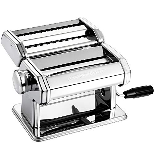 Alloyseed Stainless Steel Maker Homemade Noodle Machine with Adjustable Roller, Pasta Cutter, Hand Crank