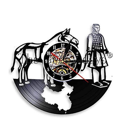 TIANZly Terrakotta Wanduhr Souvenir Antike Schallplatte Uhr Qin Dynastie Battle Steed Warrior Clock