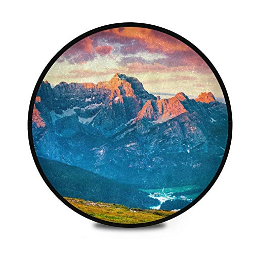 FULUHUAPIN Soft Mountain Sunset Furry Circle Rugs for Girls 36.2 in Diameter Circular Rugs for Kids Bedroom Baby Room Round Shag Area Playroom Teepee Carpets and Nursery Rugs 2033754