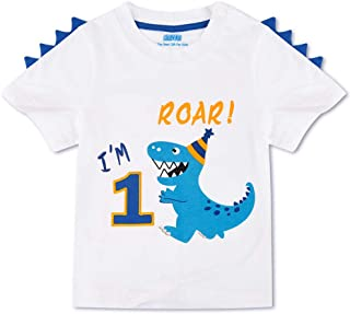 AMZTM Dinosaur 1st Birthday Shirt Dino Themed B-Day Party 1 Year Old Boy T-Shirt