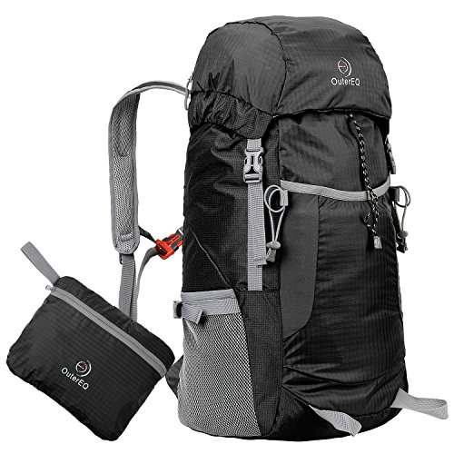 day packs OuterEQ Packable Travel Outdoor Backpacks Foldable Daypacks for Camping & Hiking (Black1, 38L)
