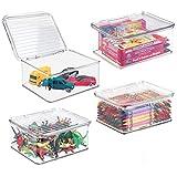 mDesign panier de rangement pour jouets (lot de 4) – bac de stockage empilable pour jouets, rangement sous lit – organiseur de...