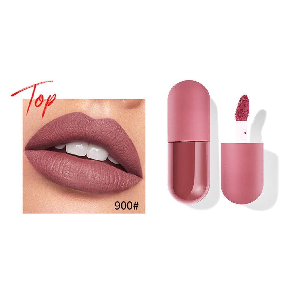 1PC Mini Capsule Lipstick, Matte Non-Stick Cup Waterproof Long Lasting Lipstick, Bright Moisturize Lip Gloss, Lip Enhancer for Fuller, Beauty Cosmetics Makeup Gift for Girls Womens (Red - 900#)