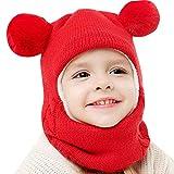 INLLADDY Mütze Kinder Winter Mütze mit Bommel Beanie Strickmütze Hut mit Kragen...