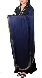 Decorative Golden Lace With Semi Chiffon Plain Dupatta Hijab Wrap Neck Scarf Stole Chunni For Girls Women's