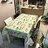 Mantel Impermeable de Hojas Tropicales, Mantel Rectangular para Restaurante en casa, Mantel para Camino de Mesa de Centro M-6 140x210cm