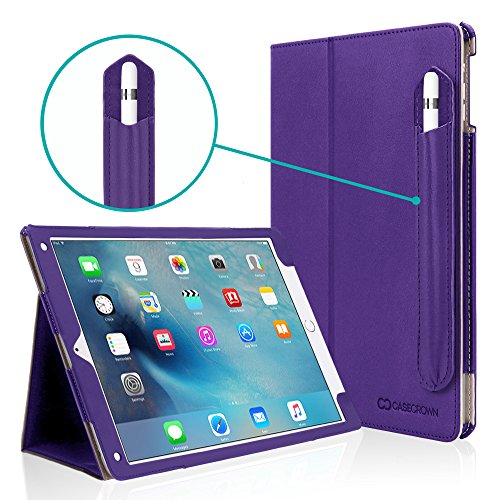 iPad Pro 9.7 Case, [Corner Protection] CaseCrown Bold Standby Pro (Purple) Case w/Apple Pencil Holder for iPad Pro 9.7 Inch 2016 - Sleep/Wake, Hand Grip, Multi-Angle Viewing Stand