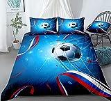 zpangg Juego de Funda nórdica de balón de fútbol 3D Bandera de Rusia y Confeti Ropa de Cama Niños Niños Adolescentes Funda de edredón Deportivo Fútbol Double