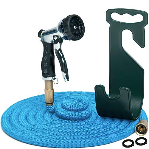 Water Hose – Large Expandable Garden Hose - Hose Holder and High Pressure Washer Hose Spray Nozzle With 7 Settings – Solid Brass Fittings - Heavy Duty Outdoor Kink Free Flex Hose